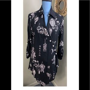 Soft Surroundings Tunic Blouse Black Asian Small